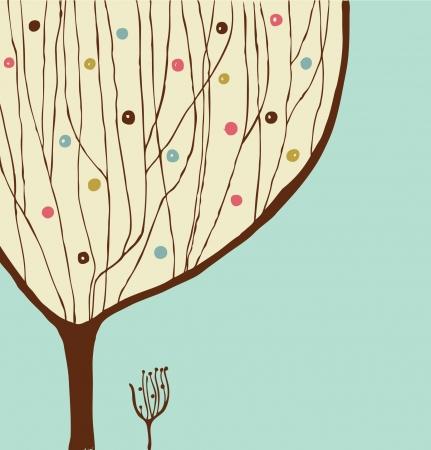 Hand getrokken decoratieve boom. Vintage voorjaar banner Stockfoto - 17329816