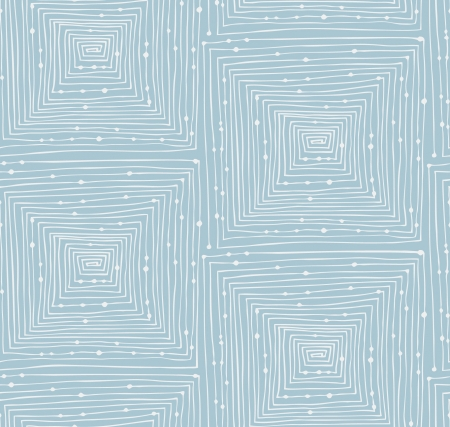 Light blue abstract linear seamless pattern. Endless background with mazes. Labyrinth. Hand drawn vector texture with squares and dots Stock Illustratie