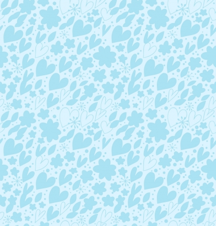 Ornate blue seamless pattern with many cute details. Decorative romantic background with hearts and flowers. Hand drawn damask texture for wallpapers, crafts, scrapbooking, prints Vector