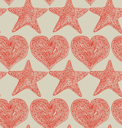Red seamless pattern with hearts and stars. Hand drawn linear texture. Design template for wallpapers, textile, clothes, web pages background Vector