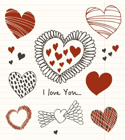 School vector set in grunge style. Love scholl collection of romantic valentines elements. Sketches of hearts on the notobooks leaf Stock Vector - 17329814