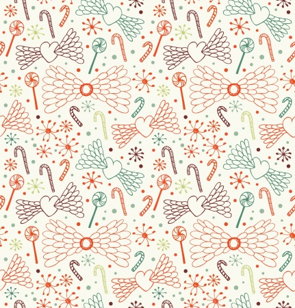 Seamless decorative love pattern. Cute background with hearts, angel wings, lollipops, sugarplums and showflakes. Endless doddle texture Vector
