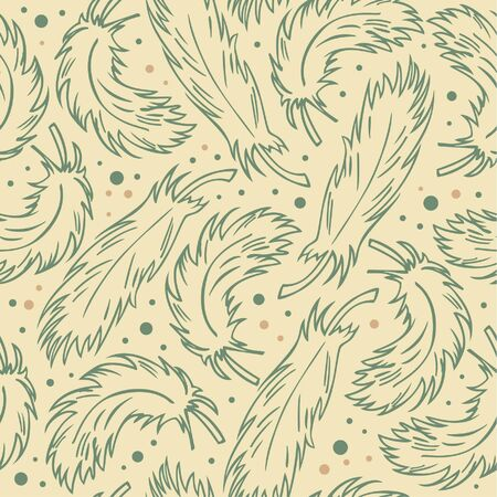 Seamless retro background with plumes. Stylish vintage pattern with feathers. Ornate decorative texture Vector