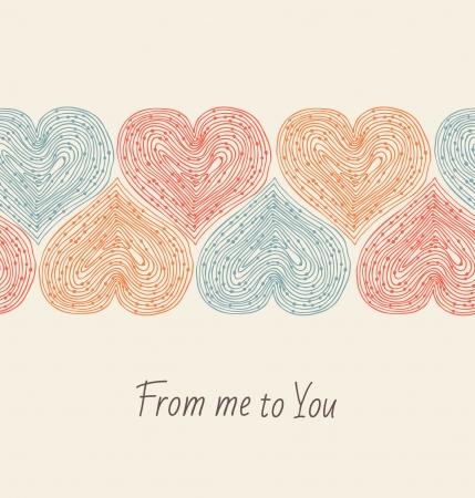 hintergrund liebe: Netter Entwurf Vorlage mit nahtlosen Band der Herzen Dekorative Elemente f�r Karten, Geschenke, Kunsthandwerk