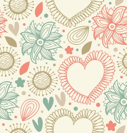 Floral beauty seamless pattern on the light background. Digital backdrop with hearts and flowers. Fabric decorative stylish texture  Vector