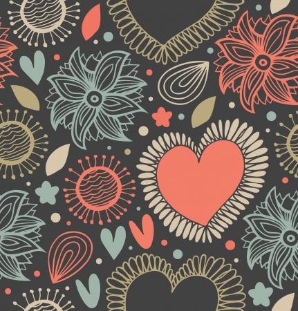 Floral cute seamless pattern on the dark background. Scribble backdrop with hearts and flowers. Fabric decorative doodle texture  Vector