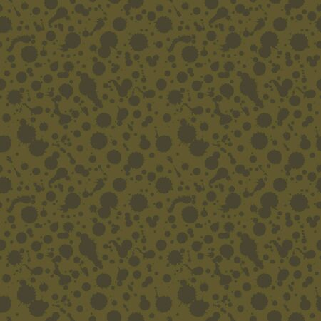 Grunge abstract seamless background. Green dotted texture. Dark pattern with spots of ink. Blots. Stains  Vector