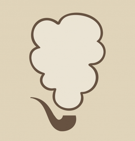 tobacco: Isolated tobacco pipe with smoke cloud. Speech and thought bubble  Illustration