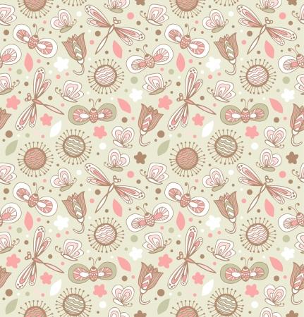 Licht schattig patroon met bloemen, libellen en vlinders. Bloemen stof naadloze textuur. Doodle elegante achtergrond