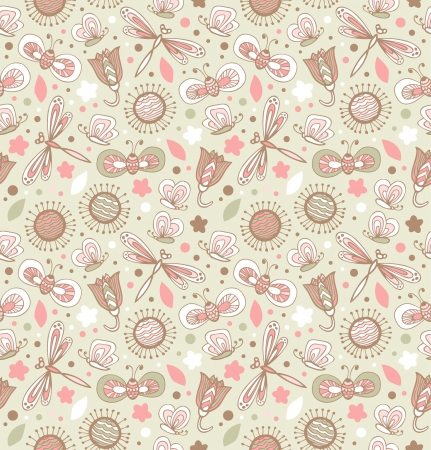 Light cute pattern with flowers, dragonflies and butterflies. Floral fabric seamless texture. Doodle elegant background  Vector
