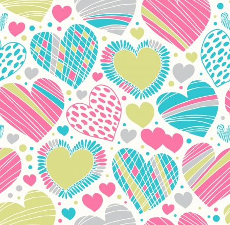 Colorful love ornamental pattern with hearts. Seamless scribble background. Creative fabric texture with many details Vector