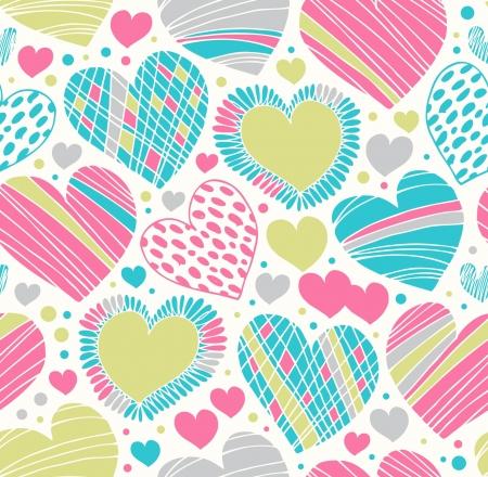corazones azules: Colorido patr�n ornamental amor con corazones. Fondo garabato sin fisuras. Textura de la tela creativa con muchos detalles Vectores