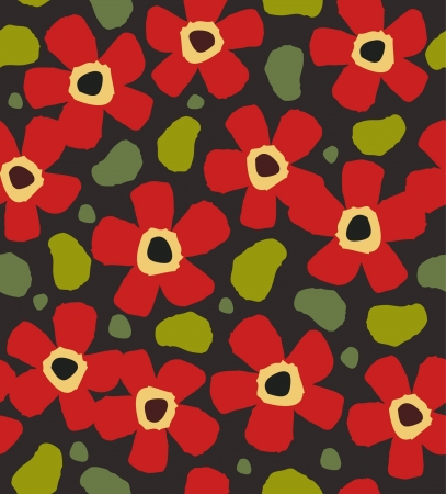 Colorful red flowers on the dark background. Floral decorative paint pattern