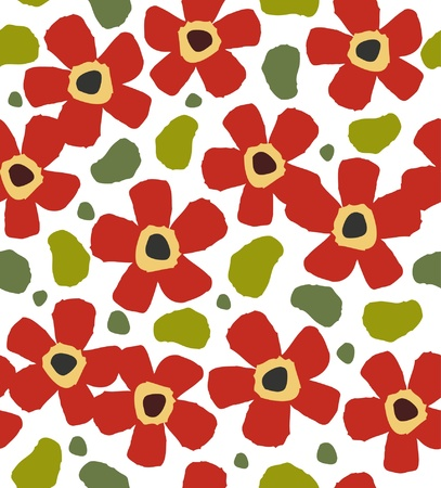 Childlike red flowers on the white background. Floral stylish paint pattern. Doodle template for design and decoration