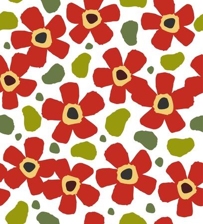 Kinderlijke rode bloemen op de witte achtergrond. Bloemen stijlvolle verf patroon. Doodle sjabloon voor ontwerp en decoratie