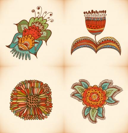 Cute floral collectie. Set met verschillende stijlvolle bloemen. Decoratieve bloemen elementen voor ontwerp en decoratie Stock Illustratie