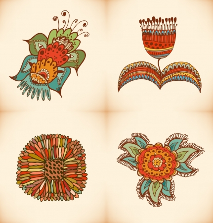 embroidery flower: Cute floral collection. Set with different stylish flowers. Decorative flowers elements for design and decoration