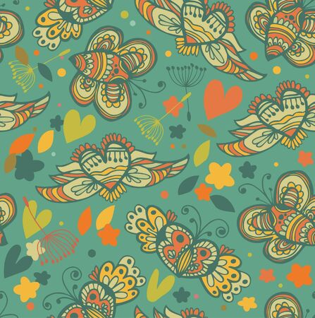 Decorative floral seamless background. Pattern with butterflies and fly hearts. Fabric ornate texture Stock Vector - 17933370