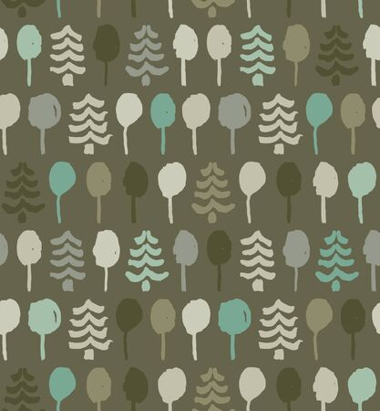 Endless drawn pattern with trees. Painting nature tracery. Tapestry. Texture for clothes, wallpapers, web pages backgrounds Vector