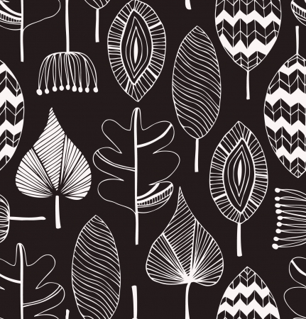 Floral linear seamless decorative pattern. Scribble background with leafs. Black and white contour fabric texture. Hand drawn template for design