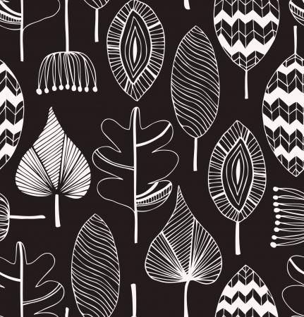 Floral patrón lineal decorativo sin fisuras. Scribble fondo con las hojas. Contorno negro y blanco textura de la tela. Plantilla dibujada a mano para el diseño Ilustración de vector