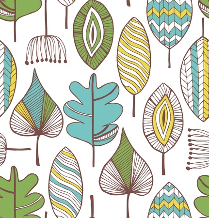 Floral seamless decorative pattern  Doodle background with leafs  Creative fabric texture Vector