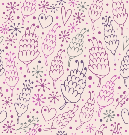 Romantic seamless pattern with flowers and hearts  Endless ornate background for prints, textile, scrapbooking, craft papers Vector