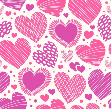Rose romantic ornamental pattern with hearts  Seamless cute background  Ornate fabric texture with many details Stock Illustratie