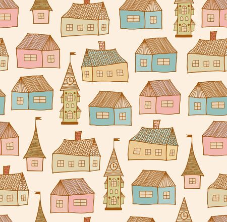 roof tile: Seamless original pattern with decorative houses  City endless background  Doodle town template for crafts, textile, wallpapers, packages