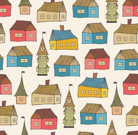 Naadloos patroon met decoratieve huizen Stad achtergrond Hand getekende stad sjabloon voor print, textiel, behang, ambachten