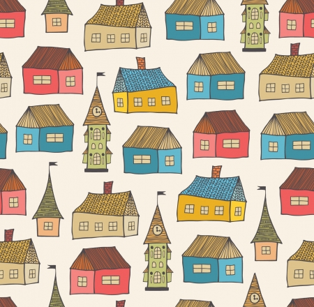 Seamless pattern with decorative houses  City background  Hand drawn town template for print, textile, wallpapers, crafts Vector