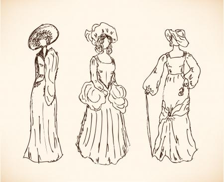 cartoline vittoriane: Set con le donne schizzi in abiti retrò Donne in abiti d'epoca collezione disegnata di donne moderne sagome