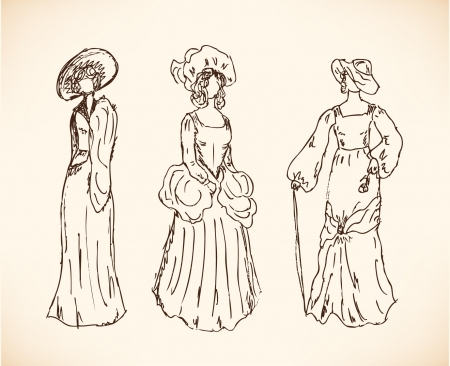 victorian people: Set with women sketches in retro clothes  Ladies in vintage dresses  Drawn collection of modern women silhouettes Illustration