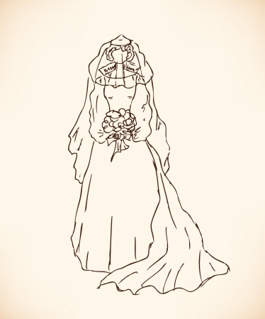 Sketch of bride  Lady in wedding dress  Hand drawn modern woman silhouette Vector