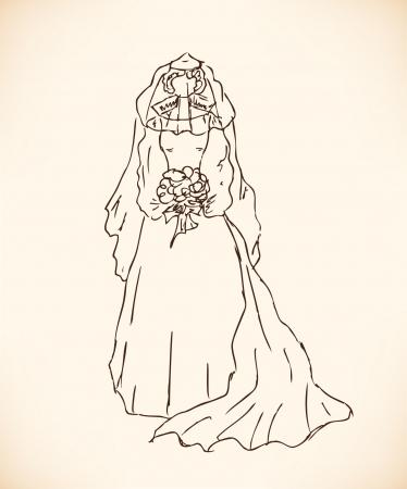 dress sketch: Sketch of bride  Lady in wedding dress  Hand drawn modern woman silhouette