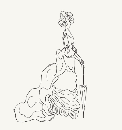 mode: Sketch of woman in historical dress  Hand drawn modern lady silhouette