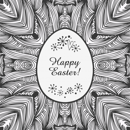 Contour ornamental lace border  easter background  Original template for easter greeting card  Black and white frame of egg for design and holiday decoration Vector