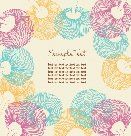 Retro flower banner with place for your text  Cartoon design elements for cards, arts, crafts, invitations  Vintage flourish background  Ornate spring border Vector