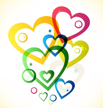 Multicolor hearts  Vector