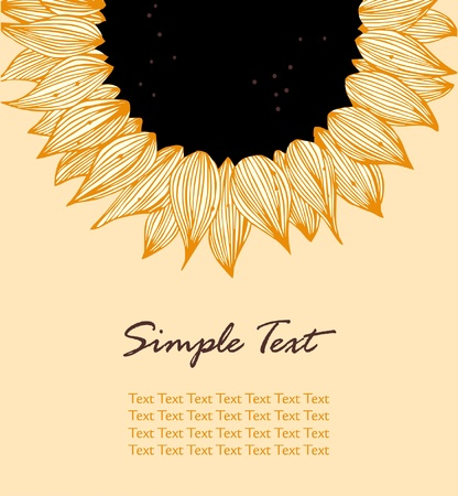 sunflower seeds: Sunflower vertical text banner. Background for holidays, sewing, arts, crafts, cards, scrapbooks, covers