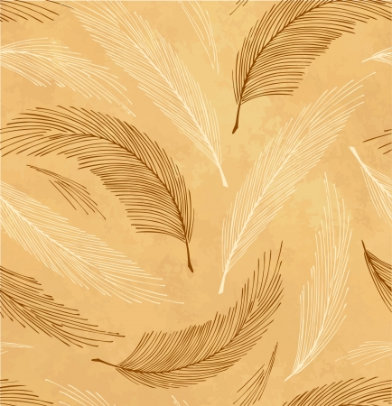 Golden seamless vintage background with plumes  Vector