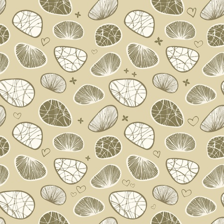 Green seamless background with decorative stones and shells. Can use for arts, cards, textile, wallpapers, web pages  Vector