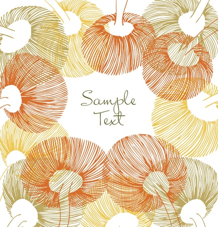 linear art: Green, yellow and orange vintage flower element. Can use for cards, arts, invitations  Illustration