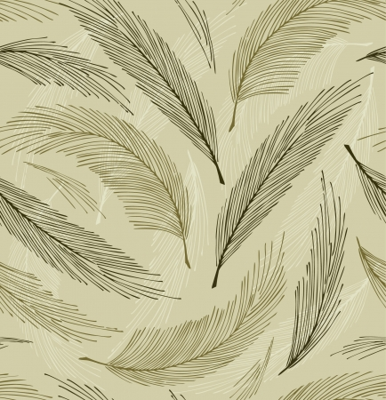 Grey seamless vintage background with plumes  Vector