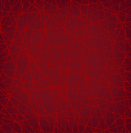Linear red network texture with dots. Background for wallpapers, cards, arts, textile  Vector
