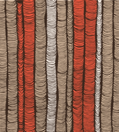 Rows of red and brown hand-drawn vertical folds  Illustration