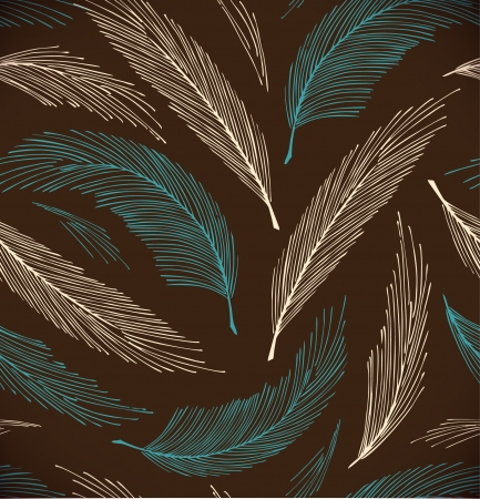 Turquoise and brown seamless vintage background with plumes