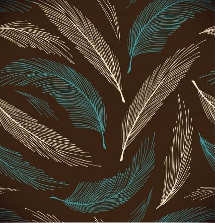 Turquoise en bruin naadloze vintage achtergrond met pluimen Stock Illustratie