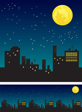 Moon and roofs  Vector