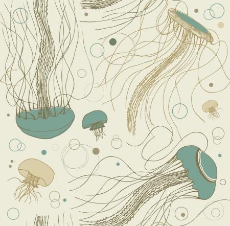 Seamless sandy marine pattern with medusas. Ocean background.  illustration